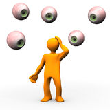 Eyes observing cartoon figure. 3d illustration of cartoon eyeballs in midair watching and observing figure with hand on head, white background Stock Photography
