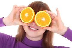 eyes orangeskivakvinnan Royaltyfri Fotografi