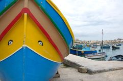 Malta, Marsaxlokk: Eyes of Osiris, symbol of high-colored fishermen boats. Eyes of Osiris, symbol of good luck is a traditional detail of high-colored fishermen Royalty Free Stock Images