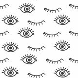 Eyes. Pattern with eyes black and white Stock Images