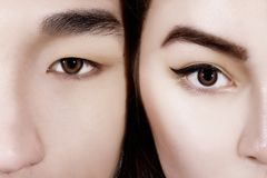 Eyes of people of different races. Kazakh, Asian, Chinese, Japanese, European. The concept of equality, no racism. royalty free stock photos