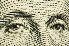 Eyes of the president of Washington. Macro Royalty Free Stock Image