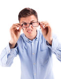 Eyes problam, man with bad vision Stock Images