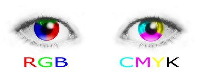 Eyes with RGB and CMYK colors. Cmyk and rgb color wheels in human eyes - bitmap illustration Stock Image