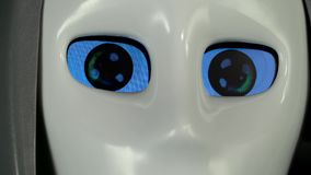Eyes of a robot close up stock video footage