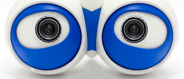 Eyes of the robot. A white robotic eyes looking Stock Photos