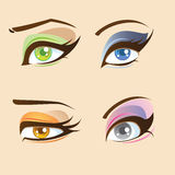 Eyes set. Set of four types of beautiful anime eyes Stock Photography