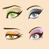 Eyes set. Set of four types of beautiful anime eyes stock illustration