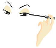Eyes Sketch with Make Up Royalty Free Stock Images