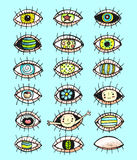 Eyes sketchy hand drawn doodle collection Stock Photos