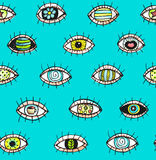 Eyes sketchy hand drawn outline colorful seamless pattern background. Royalty Free Stock Photography