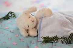 Eyes smile plush rabbit sleeping. Plush rabbit sleep up on cotton fabric Royalty Free Stock Photography