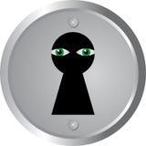Eyes spy through keyhole Stock Images