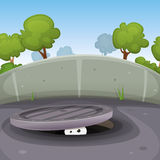 Eyes Spying From Manhole Royalty Free Stock Photo