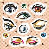 Eyes stickers, fashion badges, hand drawn pop art elements Stock Image