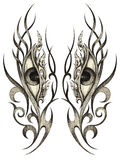 Eyes surreal tattoo. Art design Eyes surreal mix graphic tribal tattoo hand pencil drawing on paper Royalty Free Stock Photo