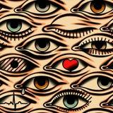 Eyes. Tattoo style. Beige Background. Seamless Pattern. stock photo