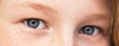Eyes of teenager girl. Closeup view of teenager girl's eyes, shallow DOF (only one eye in focus Stock Photography