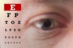 Eyes test chart. Poor eyesight, blindness. Copy space. Close-up royalty free stock photography