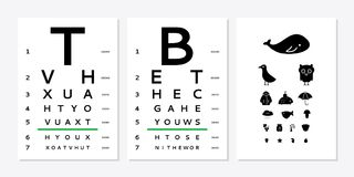Eyes test chart. Various versions of the table for eye tests the adult and children`s options isolated on white background. Vision test board optometrist Royalty Free Stock Photos