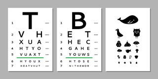 Eyes test chart. Various versions of the table for eye tests the adult and children`s options isolated on white background. Vision test board optometrist Stock Photos