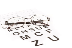 Eyes test with glasses. Sight test for glasses, vision testing, ophthalmologist Royalty Free Stock Photo