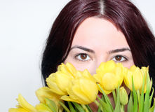 Eyes in tulips Royalty Free Stock Photos