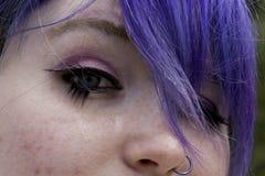 Eyes up close. Close up shoot of Kaylas eyes and cool blue hair Royalty Free Stock Image