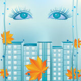 Eyes and urban landscape. Stock Images