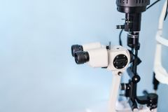 Eyes vision test medical device at ophtalmic clinic. Optometrist office with eyesight check-up equipment. Optician professional. Tool for person sight stock photos