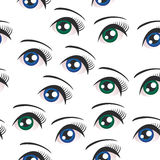 Eyes on white background seamless pattern. Vector Royalty Free Stock Images