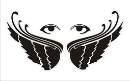 Eyes wings. Pair of wings with two woman eyes above Stock Photos