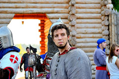 Eyes of the winner. International Championship on the historical medieval battle Call of heroes. It passes near Kiev, in the village of Kopachev, Ukraine, 19-20 Stock Image