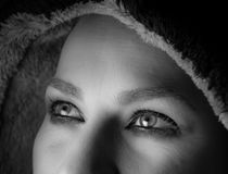 Eyes of a woman. Valencia caught staring at the ceiling with a crystal clear reflection in her eyes Stock Images