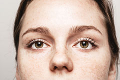 Eyes woman Young beautiful freckles woman face portrait with healthy skin Royalty Free Stock Images