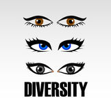 Eyes of women showing diversity Stock Image