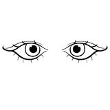 Eyes young female silhouette angry. vector illustration Stock Photos