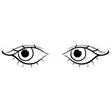 Eyes young female silhouette look left. vector illustration Stock Image