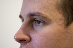 Eyes of a young man at close distance. Brown eyes of a young man at a close distance Royalty Free Stock Photography