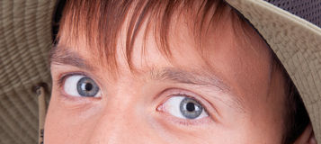 Eyes of a young tourist Royalty Free Stock Photo