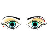 Eyes young women look forward silhouette. vector illustration Stock Photo