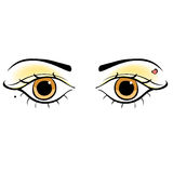 Eyes young women look forward silhouette. vector illustration Stock Image