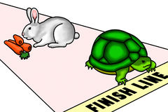 Eyes on your goal. An illustration of a race between a rabbit and a turtle. Despite of being slow, the turtle win the race because the rabbit was distracted and Royalty Free Stock Image