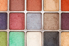 Eyeshadow 1. Closeup of different colored eye shadows Royalty Free Stock Photography