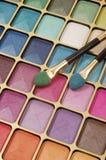 Eyeshadow. Colorfull make up set and brushes Stock Photo