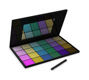 Eyeshadow box. One eyeshadow box with many colors and a brush Royalty Free Stock Image
