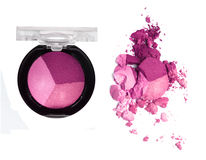Eyeshadow in the box and crushed sample Stock Photography