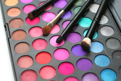 Eyeshadow and brushes royalty free stock photo