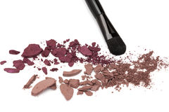Eyeshadow burgundy color palette with makeup brush Royalty Free Stock Photography