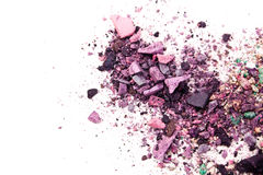 Eyeshadow Cosmetic Powder Scattered Copy Space. various set  on white background. The concept of fashion and beauty indust Royalty Free Stock Images